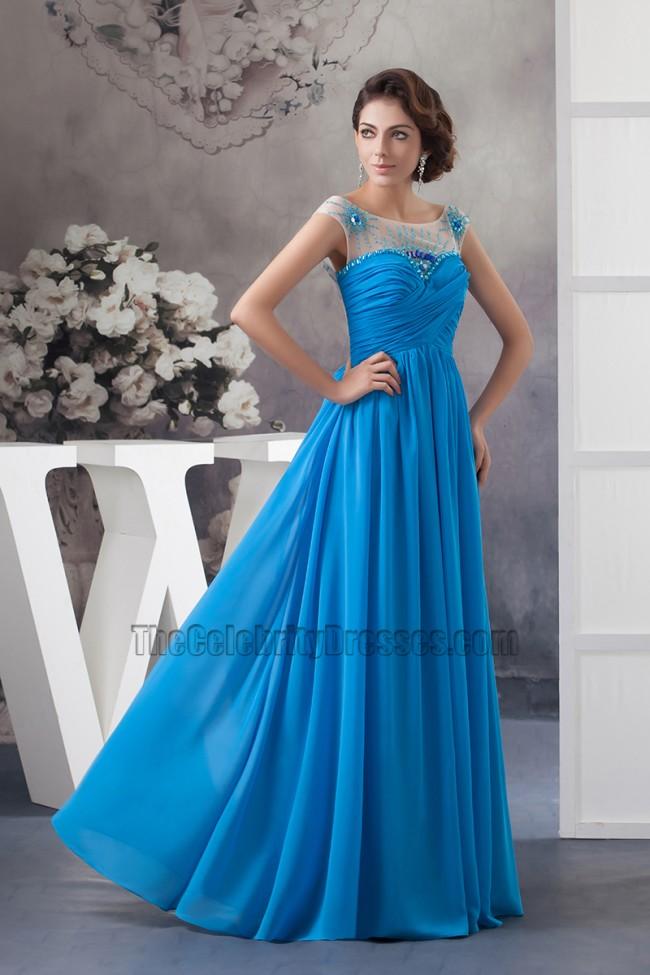 Glamorous Blue Chiffon Backless Prom Dress Evening Gown ... - photo#3