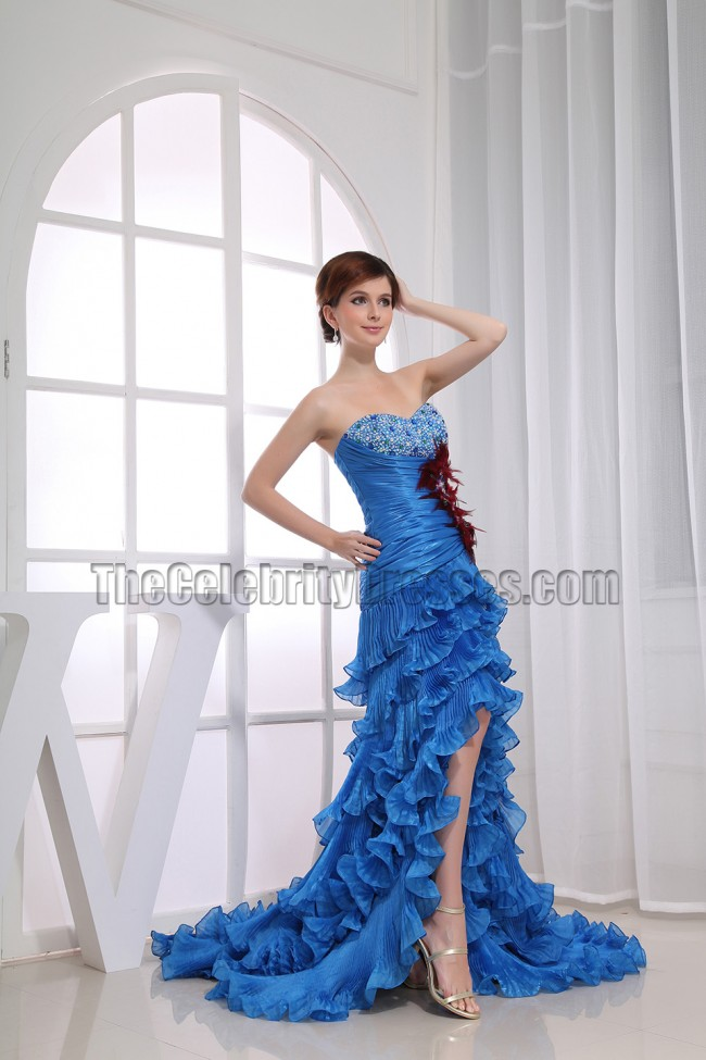 Glamorous Blue Strapless High Low Prom Dress Formal ...