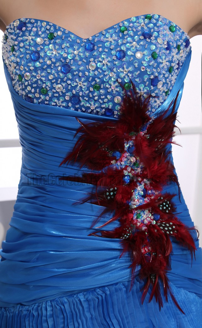 Glamorous Blue Strapless High Low Prom Dress Formal ... - photo#11