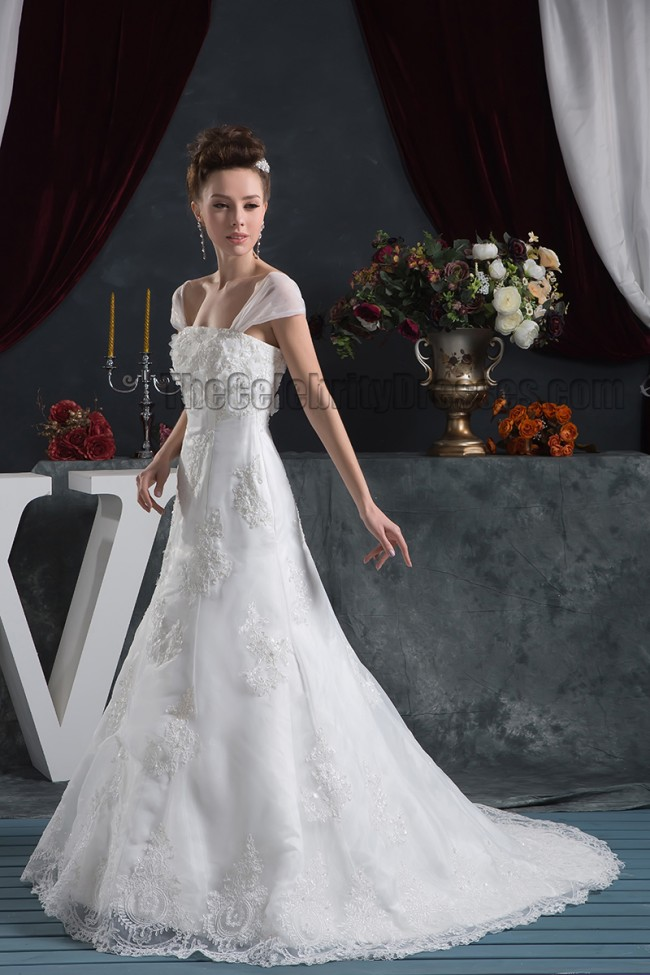 Gorgeous a line cap sleeves lace bridal gown wedding dress for Free wedding dress catalog