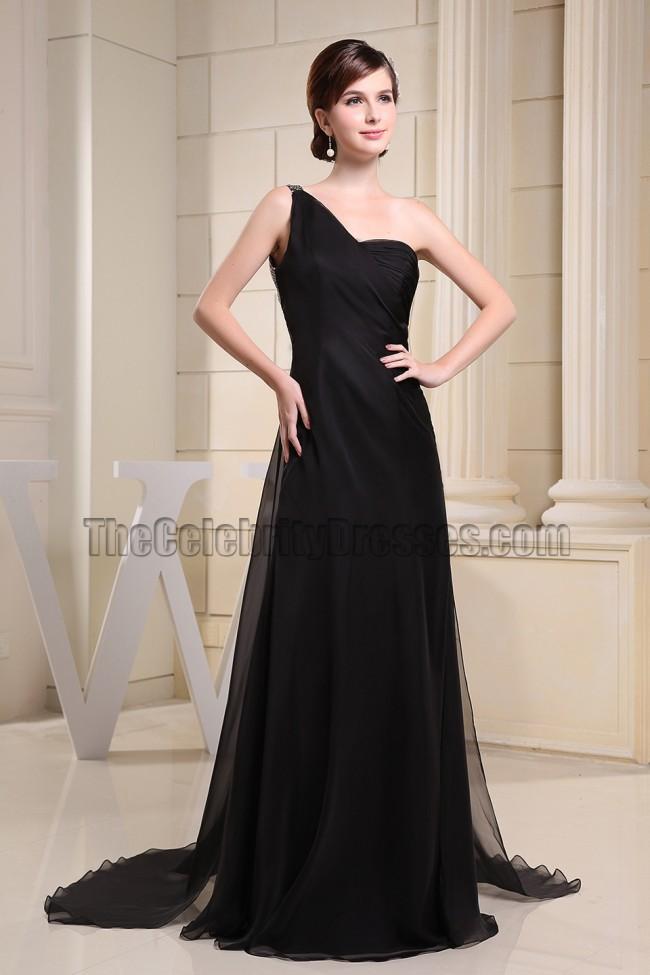 Backless Black One Shoulder Prom Dress Evening Formal ...One Shoulder Black Prom Dresses