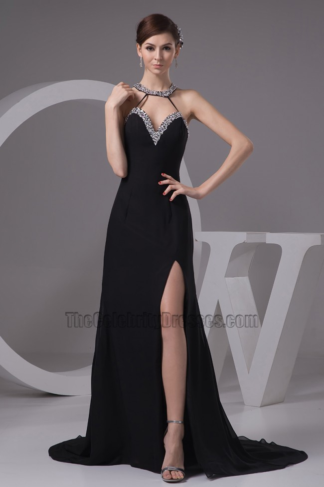 Sexy Black Sliver Sequined Evening Dress Prom Gown