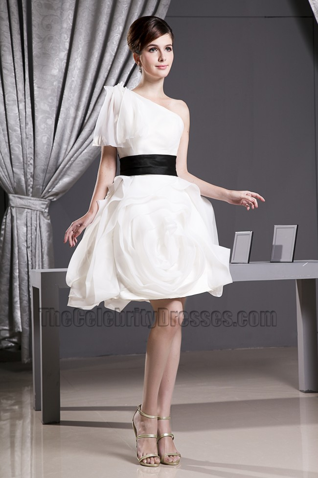 Celebrity Inspired White Short One Shoulder Party