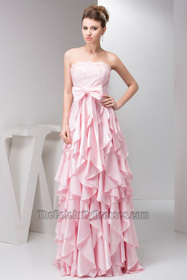 Gorgeous Pink Ruffles Strapless A-Line Prom Dress Evening Gown ...
