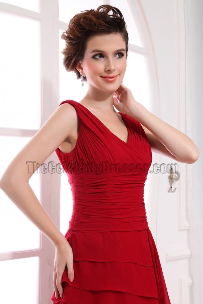 Gorgeous Red V Neck Prom Dress Formal Evening Dresses