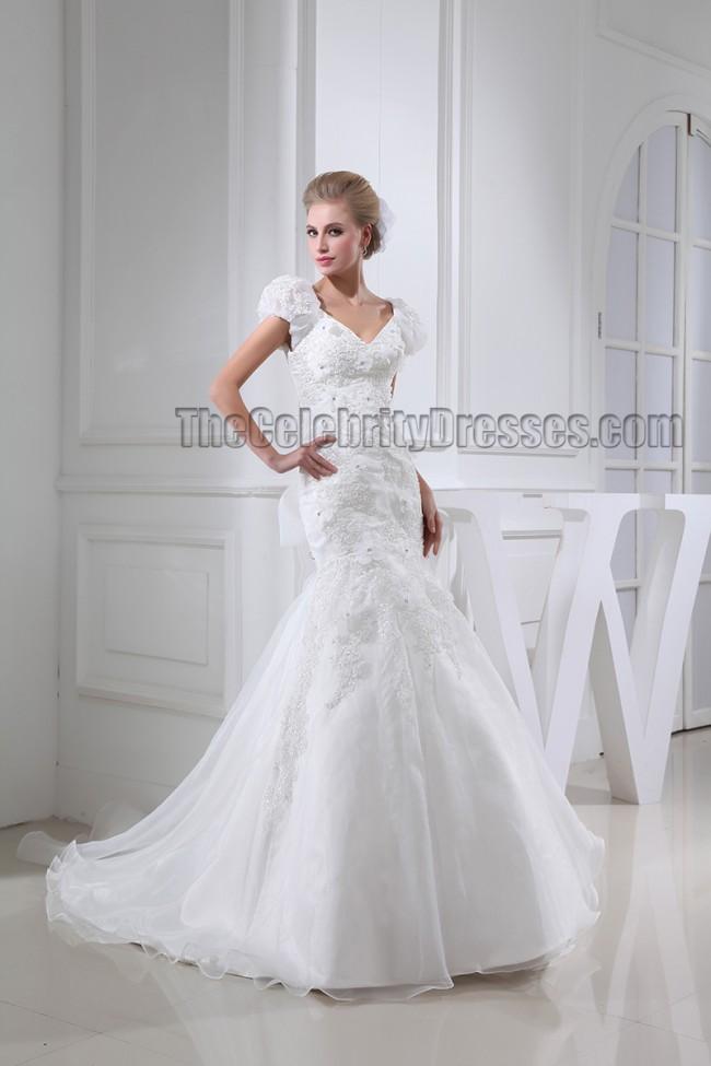 Mermaid Wedding Dress With Chapel Train : Gorgeous trumpet mermaid cap sleeve chapel train wedding dresses