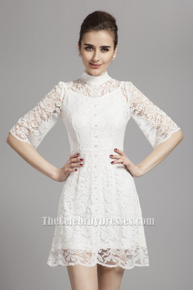 Gorgeous White Lace Short Mini Party Homecoming Dresses ...