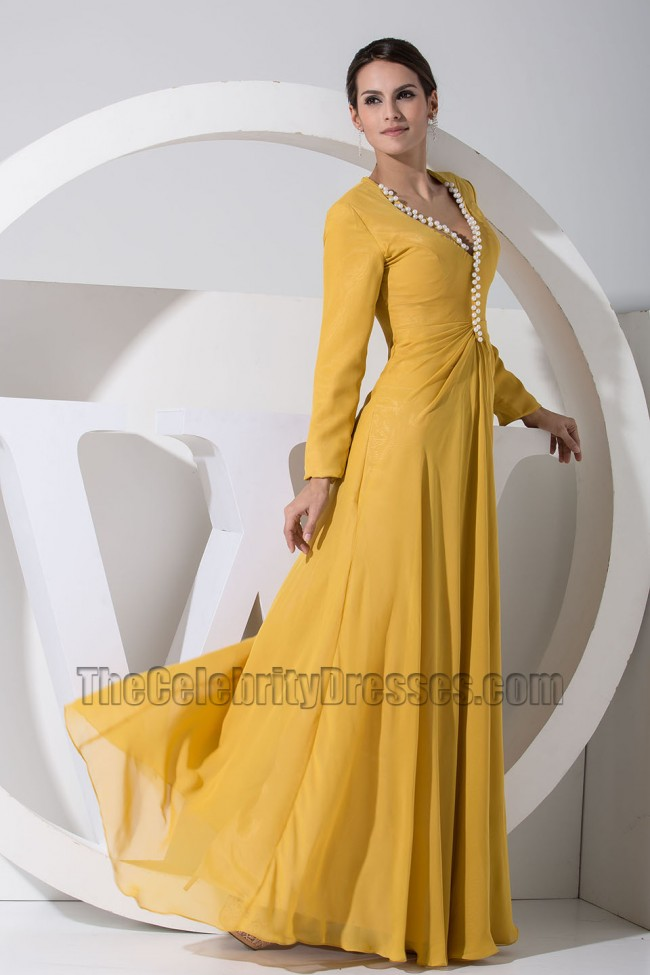 18cff1eba10 Gorgeous Yellow Long Sleeve Prom Dress Formal Evening Dresses ...