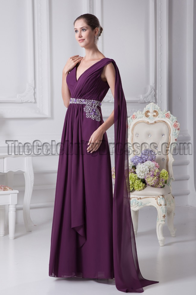 Grape V-Neck Prom Gown Evening Bridesmaid Dresses - TheCelebrityDresses