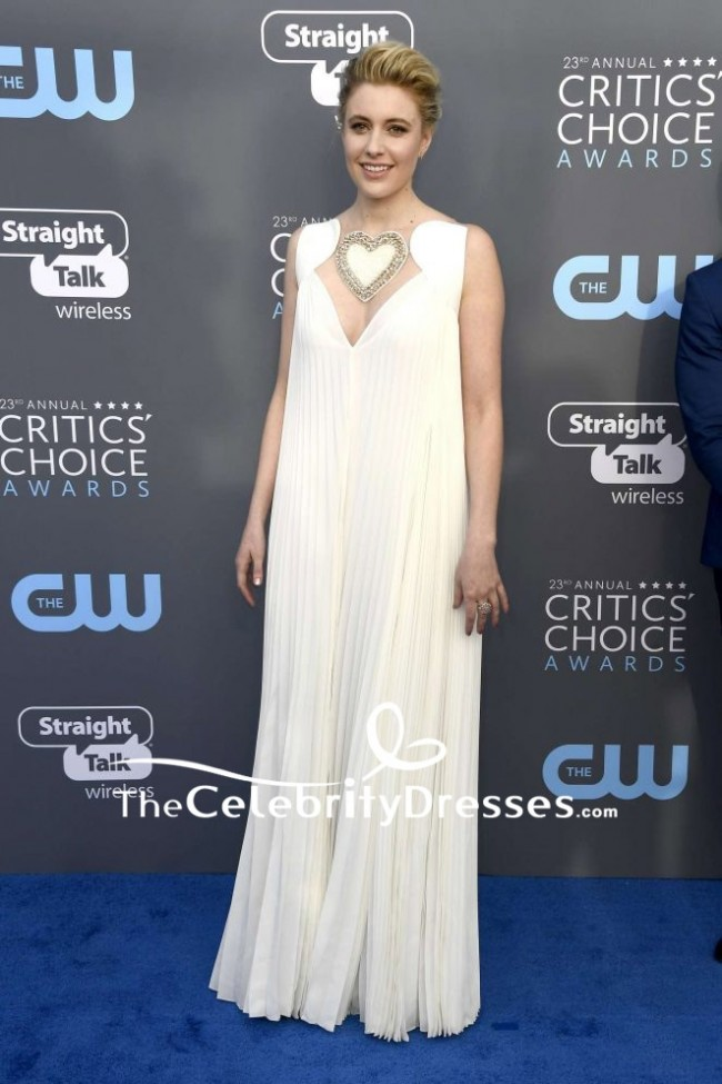 9fbef0839 Greta Gerwig Ivory V-neck Ruffle Long Dress 2018 Critics  Choice Awards. Red