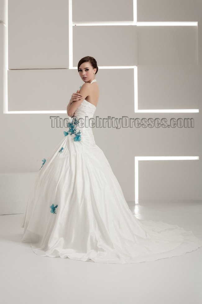 Halter ball gown embroidered lace up wedding dresses for Halter ball gown wedding dresses