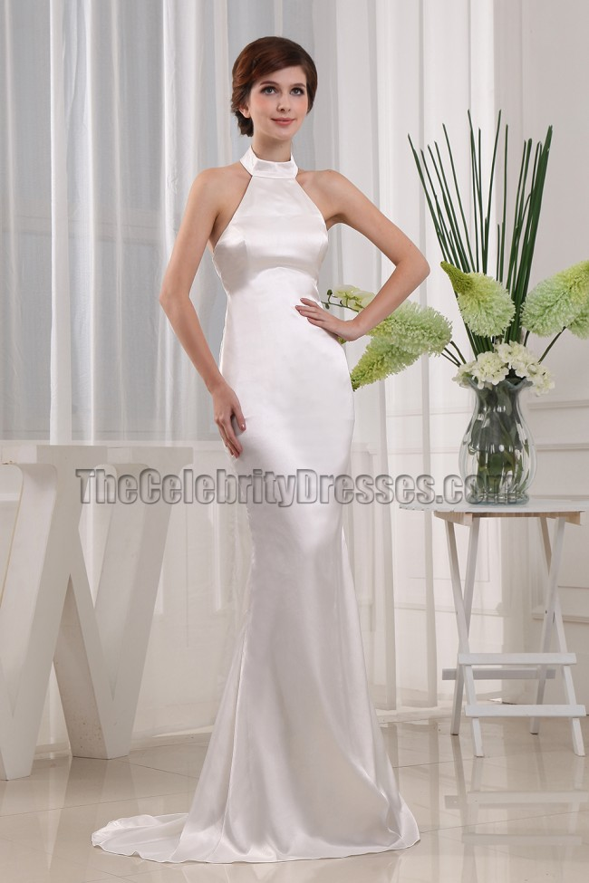Simple mermaid halter wedding dress bridal gown for Halter mermaid wedding dress