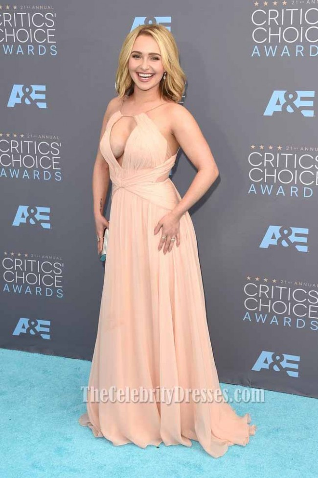 Hayden Panettiere Cut Out V Neck Evening Dress Critics