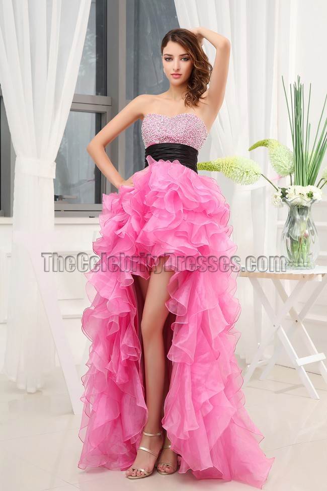 Celebrity Inspired Hi Low Strapless Formal Dress Prom Gown