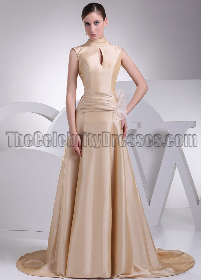 Home occasion evening dresses long evening dresses high neck champagne