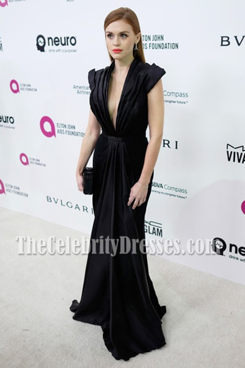 64113a8ae375 Holland Roden Black Plunging Evening Prom Dress 24th Annual Elton ...