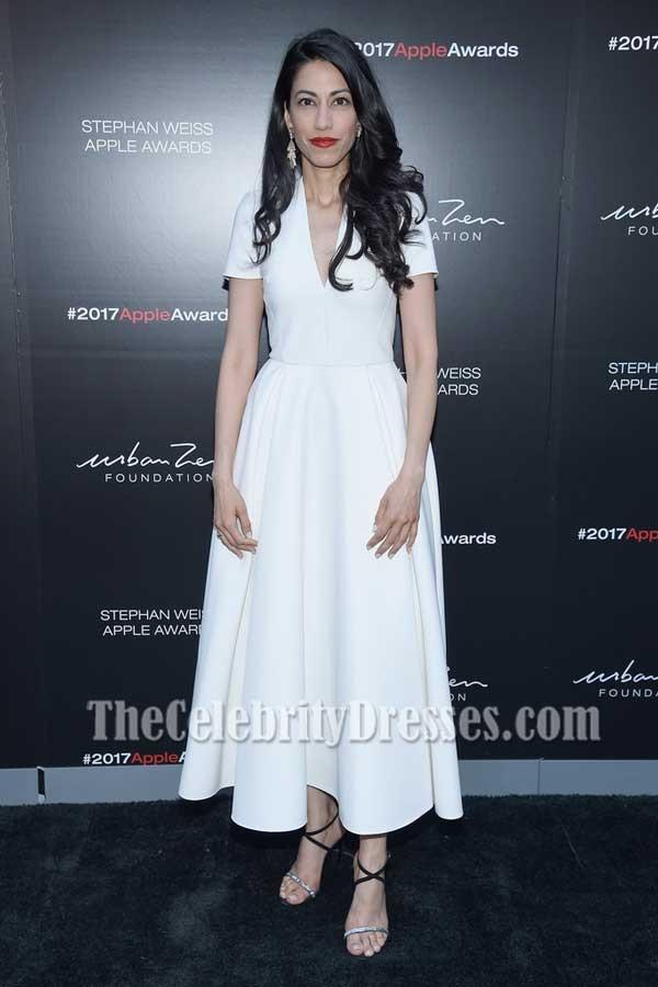 Huma Abedin Ivory Short Sleeves Fit And Flare Midi Dress