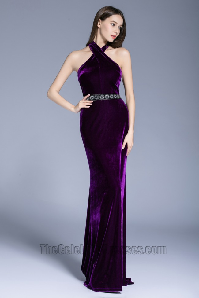 Women Fashion Purple Halter Ball Gown Party Red Carpet