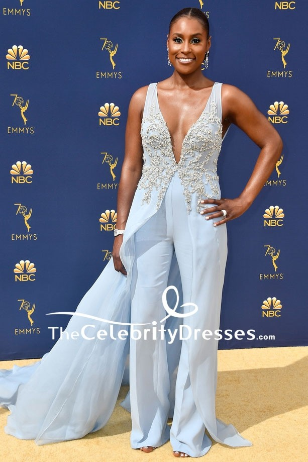 Issa Rae Baby Blue Deep V Neck Jumpsuit 2018 Emmys