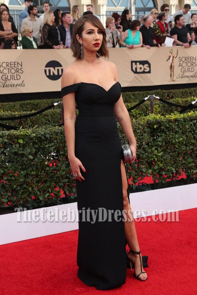 159e92370ffa Jackie Cruz Black Off-the-shoulder High Slit Evening Dress SAG Awards 2017  red