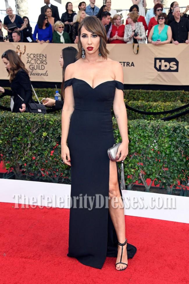 Jackie Cruz Black Off-the-shoulder High Slit Evening Dress SAG ...