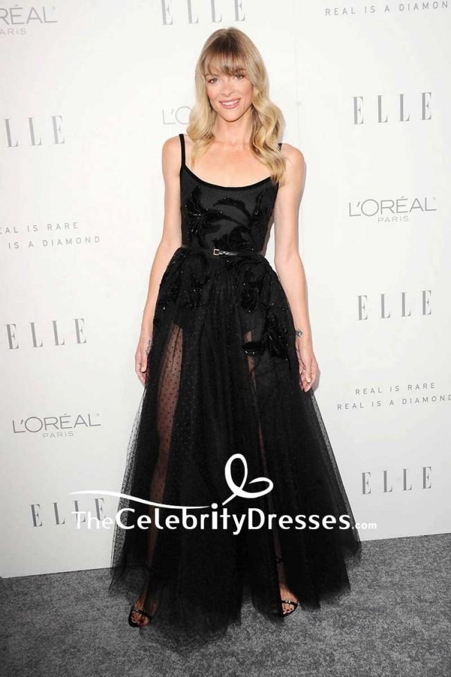 Jaime king black sheer tulle beaded evening dress lle 39 s for Elle king s wedding dress