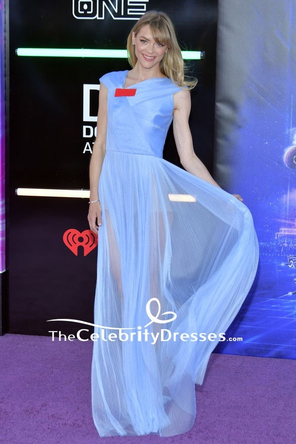 Jaime King Sky Blue Sheer See Through Evening Formal Dress