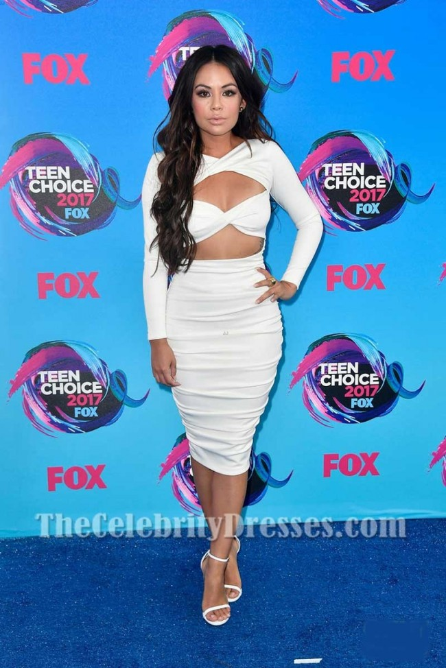Janel Parrish White Sexy Cut Out Bodycon Cocktail Dress With Long ...