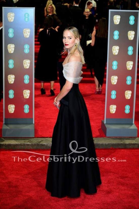339556f0268 Jennifer Lawrence Black Off-the-Shoulder Evening Dress 2018 BAFTAs Red  Carpet Gown