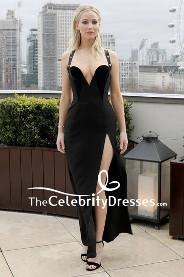 268044a5c15c Jennifer Lawrence Black Sweet Heart Plunging Thigh-high Slit Prom Dress Red  Sparrow