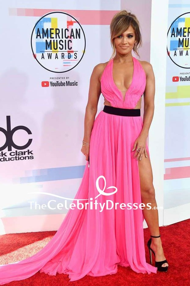 47e3eb30a41d Jennifer Lopez Hot Pink V-neck Thigh-high Slit Evening Dress 2018 American  Music