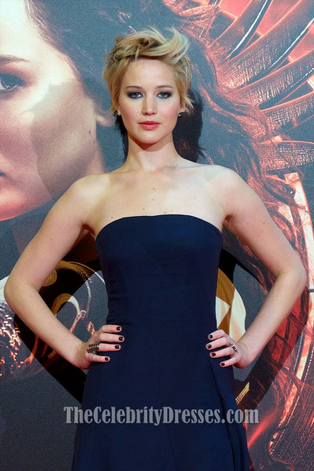 Jennifer Lawrence Navy Prom Dress \'The Hunger Games Catching Fire ...