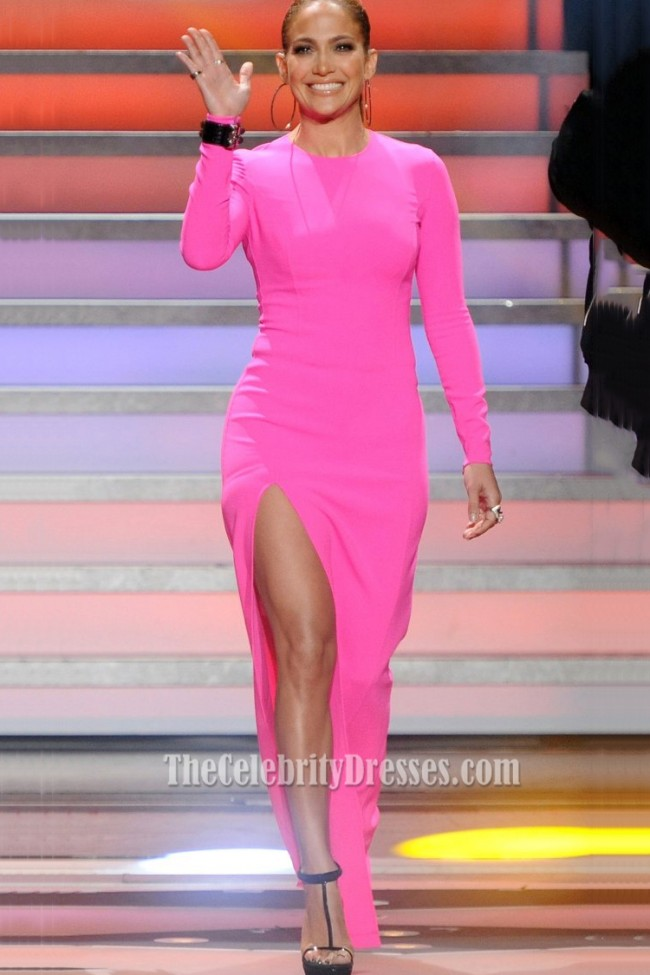 4df90ddbe56a Jennifer Lopez American Idol Pink Long Sleeved High Slit Evening Prom 1