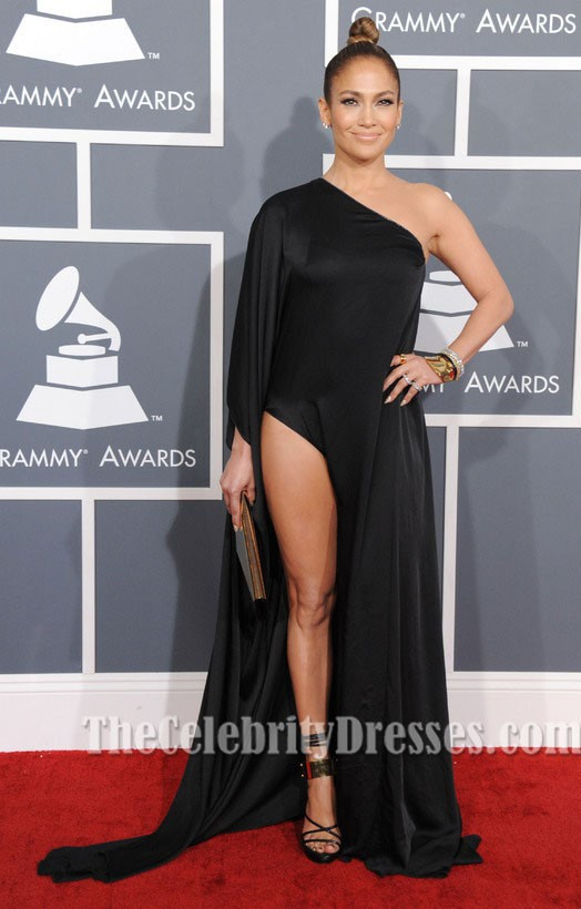 Jennifer Lopez Black Evening Dress Grammy 2013 Red Carpet Gown