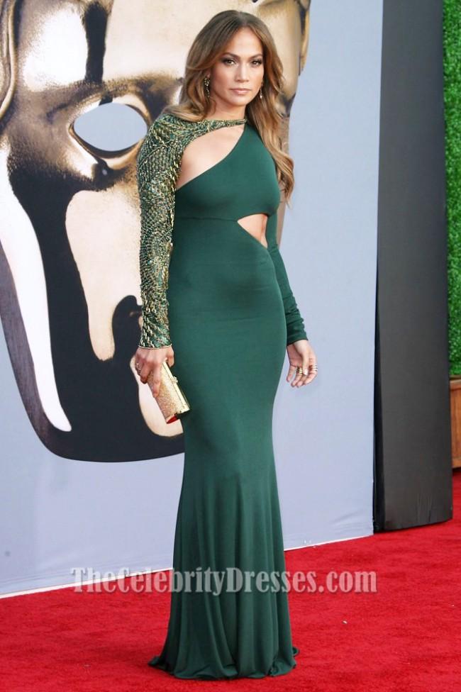 Jennifer Lopez Green Long Sleeve Formal Dress Bafta 2011