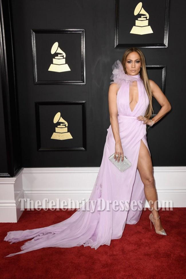 Jennifer Lopez Lilac Deep V-neck Slit Evening Dress 2017 Grammy ...
