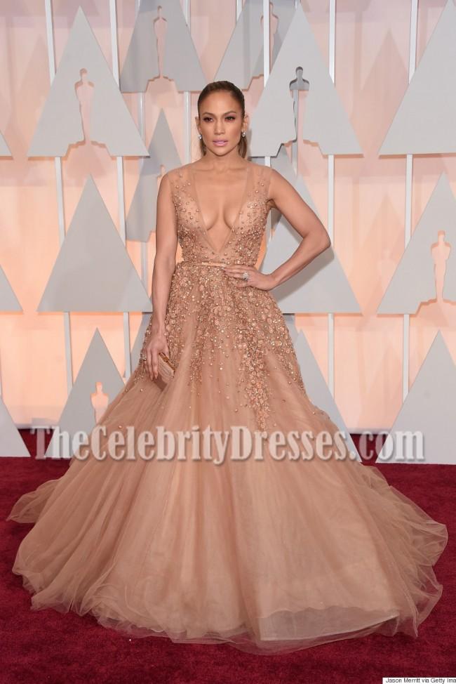 Jennifer Lopez Deep V-neck Beading Ball Gown Oscars 2015 Shows ...