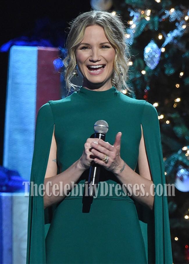 Jennifer Nettles Caped Long Evening Dress CMA 2016 Country Christmas ...