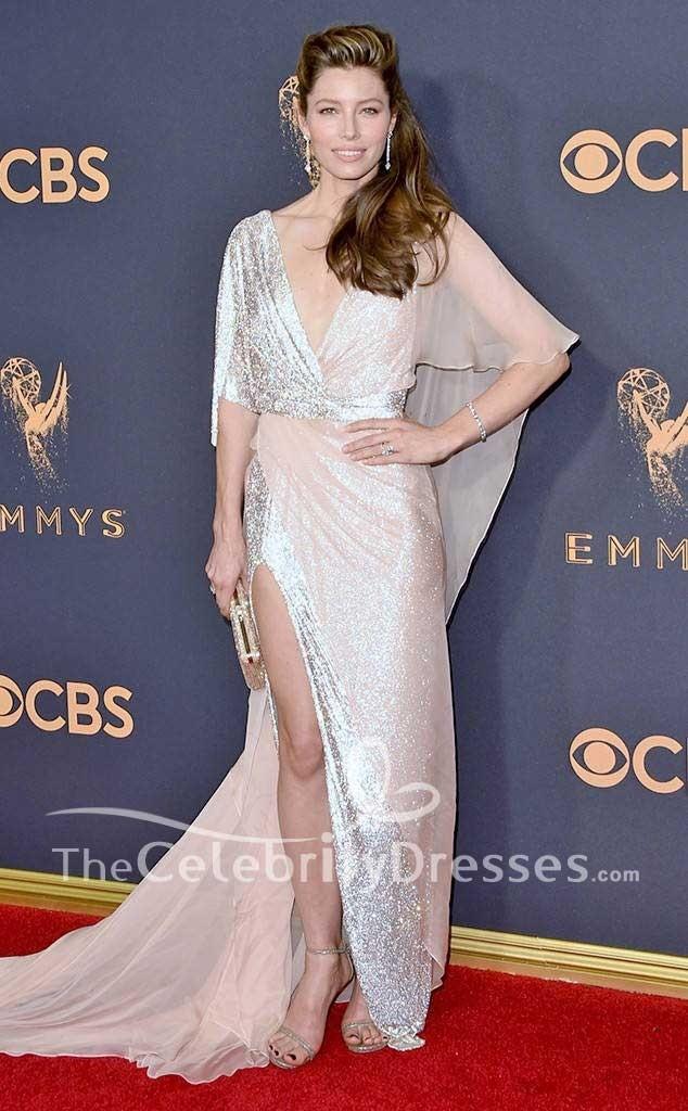 Jessica Biel High Split Evening Dress 2017 Emmy Awards Red