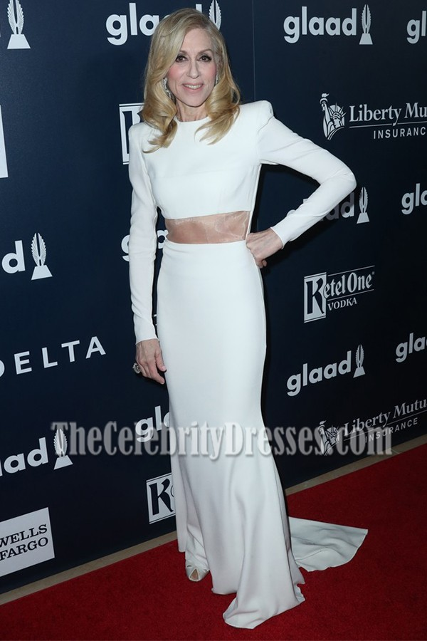 Judith Light White Long Sleeves Cutout Fishtail Prom Gown