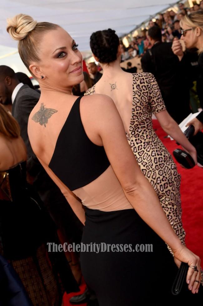 Kaley Cuoco Black One Shoulder Evening Formal Dress 22nd