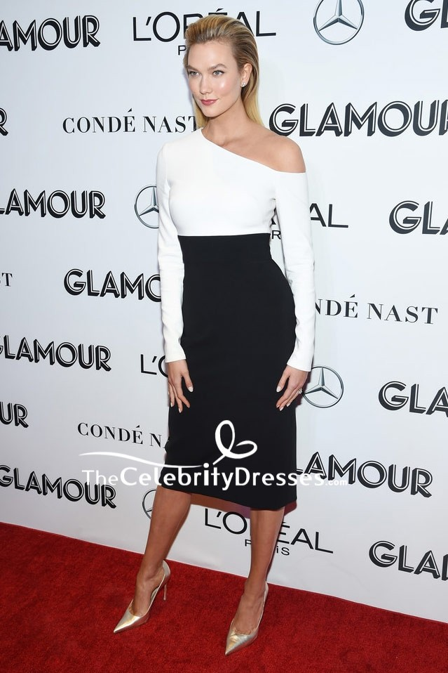 4bf872deab0 Karlie Kloss Black And White One-shoulder Cocktail Dress 2018 Glamour Women  of the Year