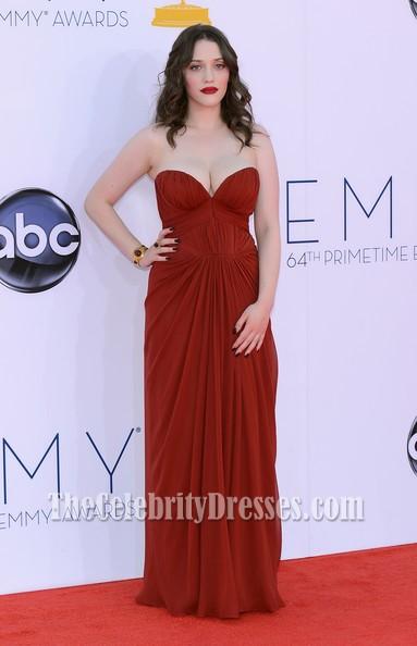 Kat Dennings Chiffon Formal Dress 2012 Emmy Awards Red