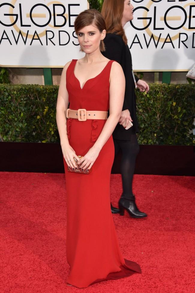 Kate Mara 2015 Golden Globe Awards Red Chiffon Evening