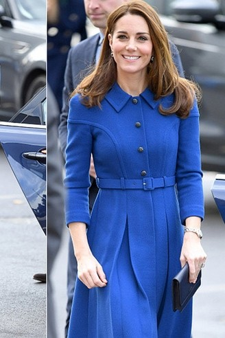 b15b060a828 Kate Middleton 2019 Royal Blue Casual Short Dress With Sleeves ...