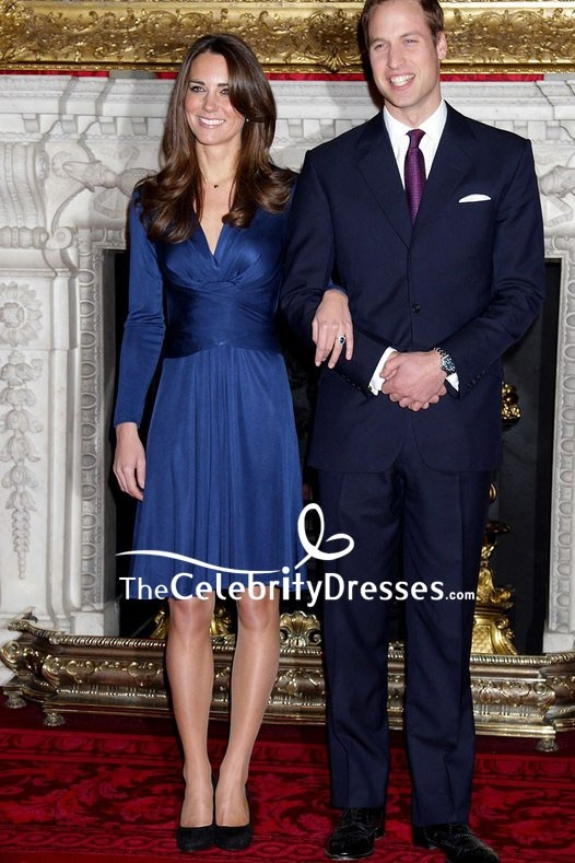 Kate Middleton Iconic Navy Blue Engagement Dress For