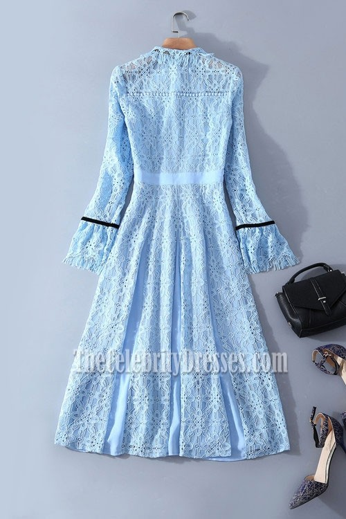 Kate Middleton Light Blue Lace Short Dress With Long