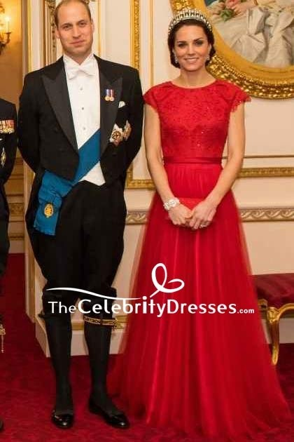 5ae3bdca96c Kate Middleton Sparkly Cap Sleeves Red Ball Gown New Royal Portrait ...