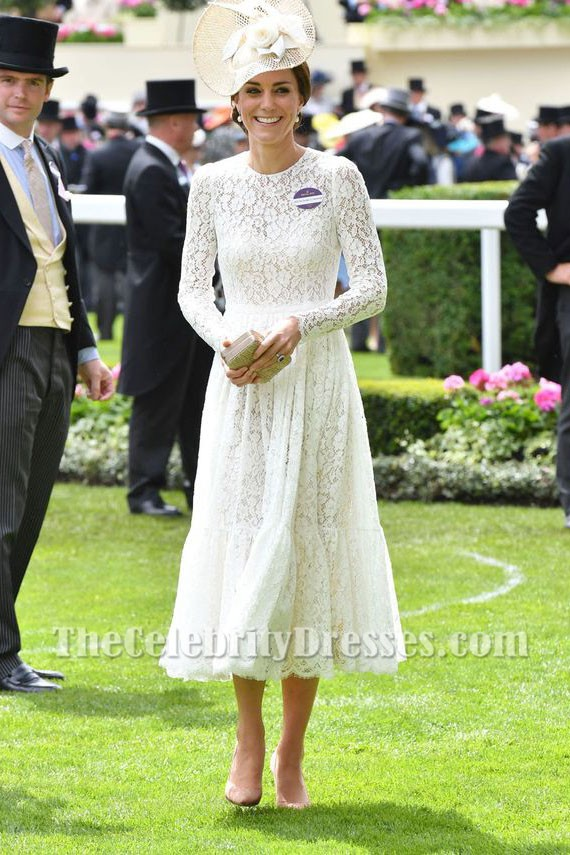 214d719fb573 Kate Middleton White Lace Dress With Long Sleeves Party Dress Royal Ascot  2017