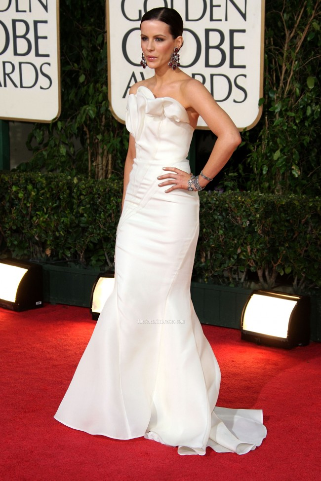 Kate Beckinsale White Strapless Mermaid Prom Gown Formal